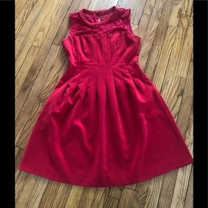 Bright Red Illusion Neckline Dress With Pleats